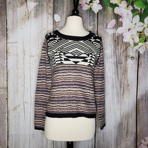 Ecote Mixed Pattern Pullover Sweater